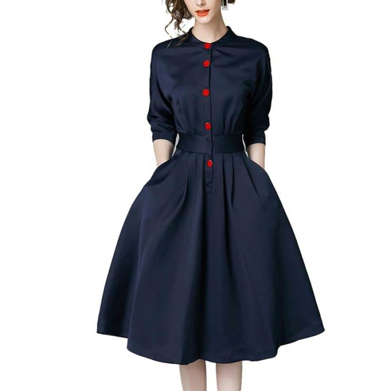 Vintage Slim Three Quarter Sleeve A Line Elegant Midi Dress - Midi Dress