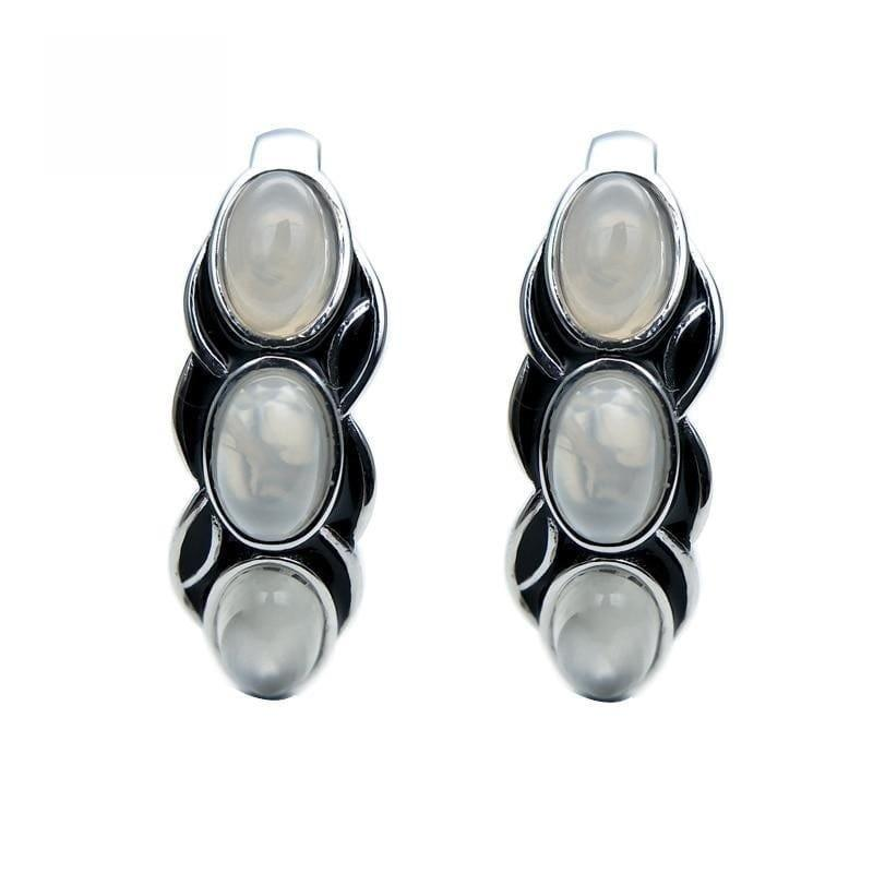 Vintage Style Natural White Moonstone Gemstone 925 Sterling Silver Earrings - Earrings
