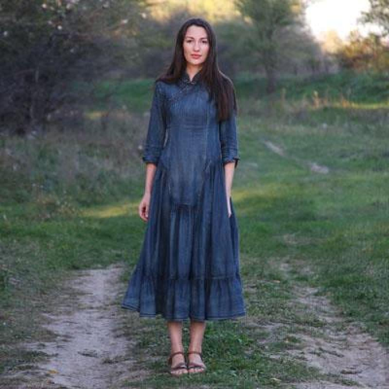 Vintage Women Three Quarter Sleeve A-Line Blue Denim Maxi Dress - Denim / S - Maxi Dress