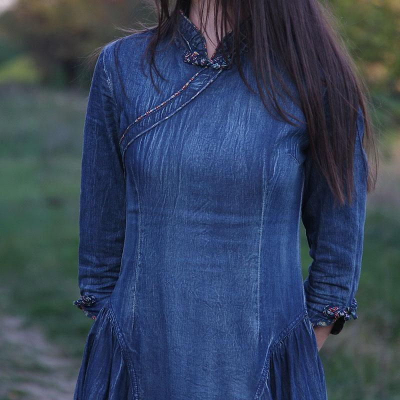 Vintage Women Three Quarter Sleeve A-Line Blue Denim Maxi Dress - Maxi Dress
