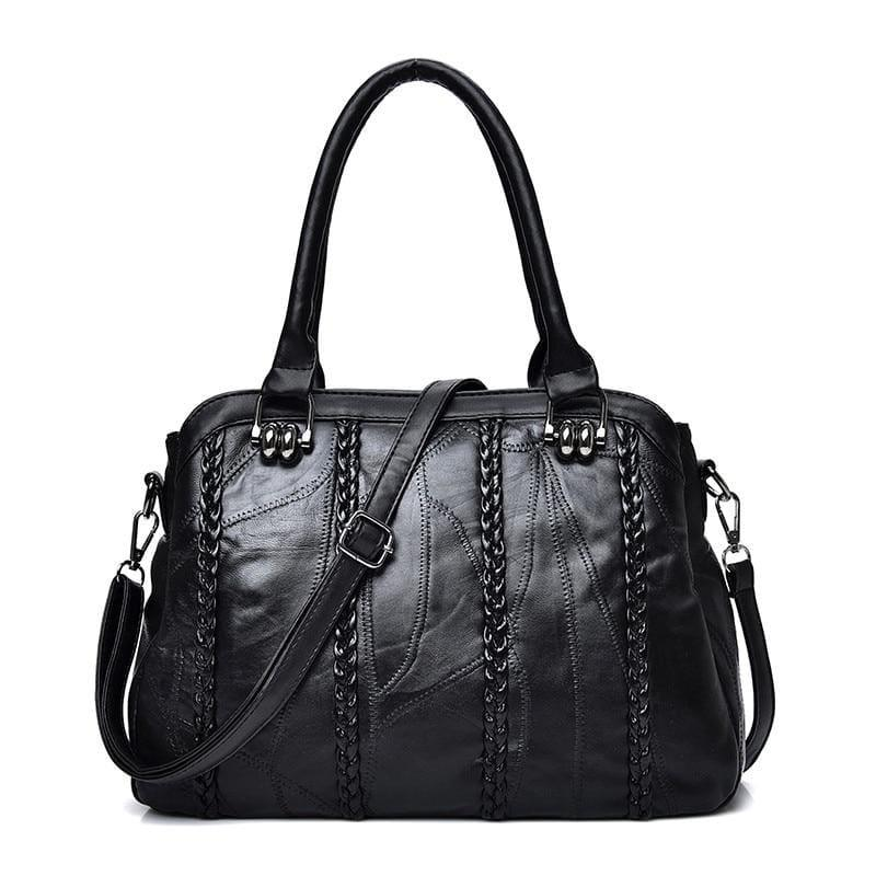 Weave Fashion Genuine Leather Sheepskin WomenHand Bag - BLACK - HandBag