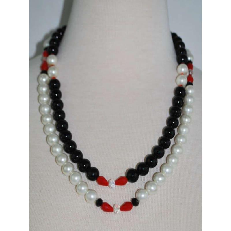 White And Black Glass Bead Necklace - Handmade