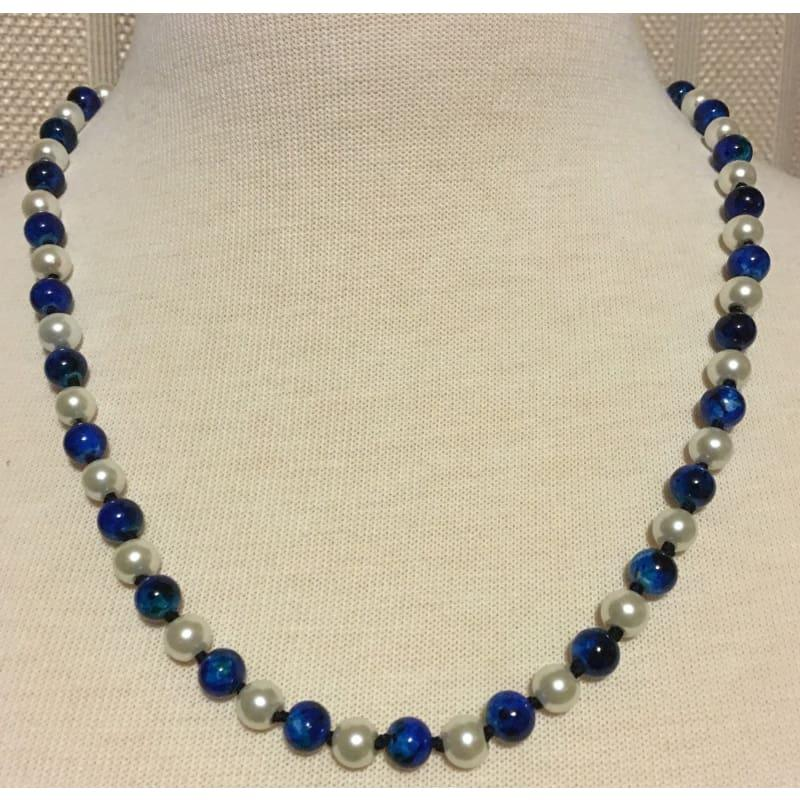 White and Blue Glass Pearls Womens Necklace. - Handmade