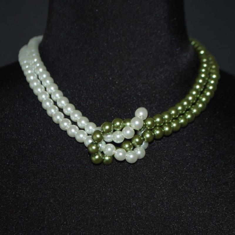 White And Green Inter Loop Glass Pearls Womens Necklace. - Handmade