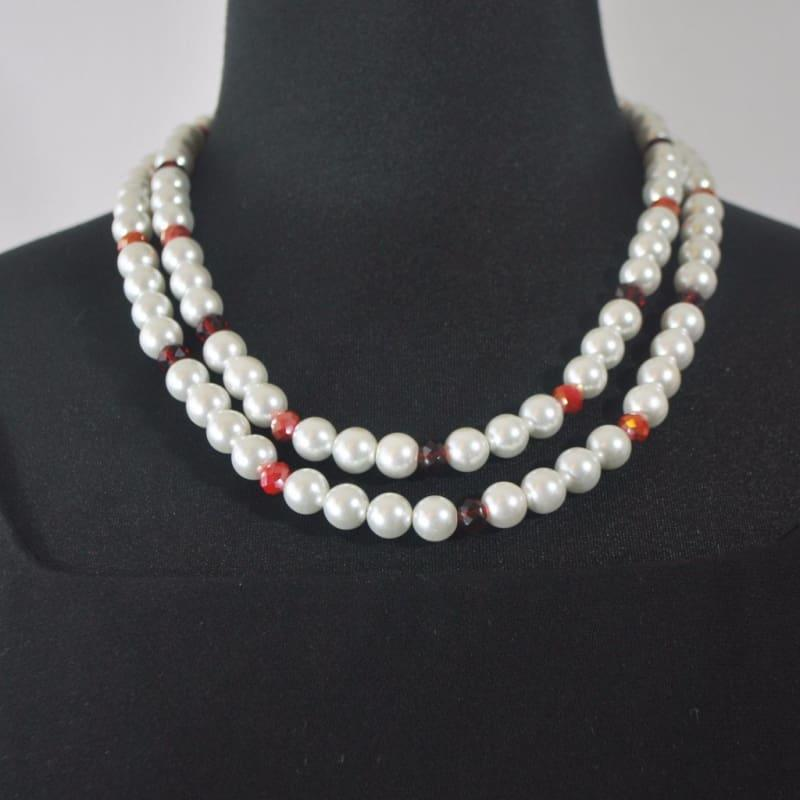 White Double Strands Glass Pearls With Red Crystal Ascent Necklace - Handmade