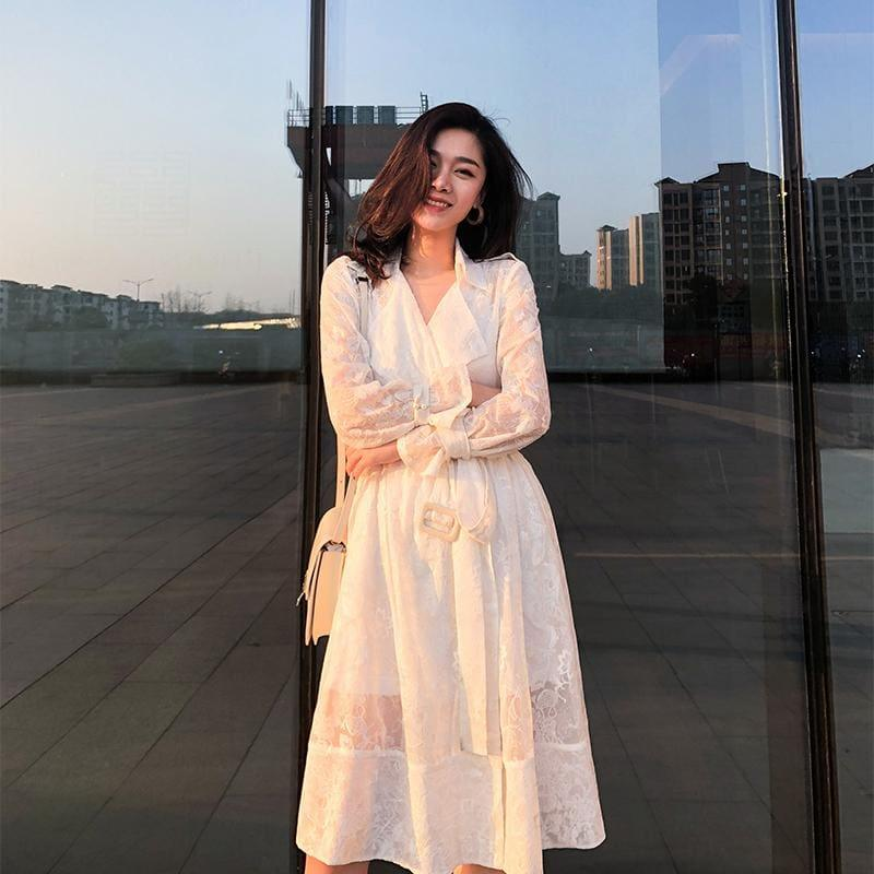 White Embroidery Lace High Waist Long Sleeve Dress - Knee Length