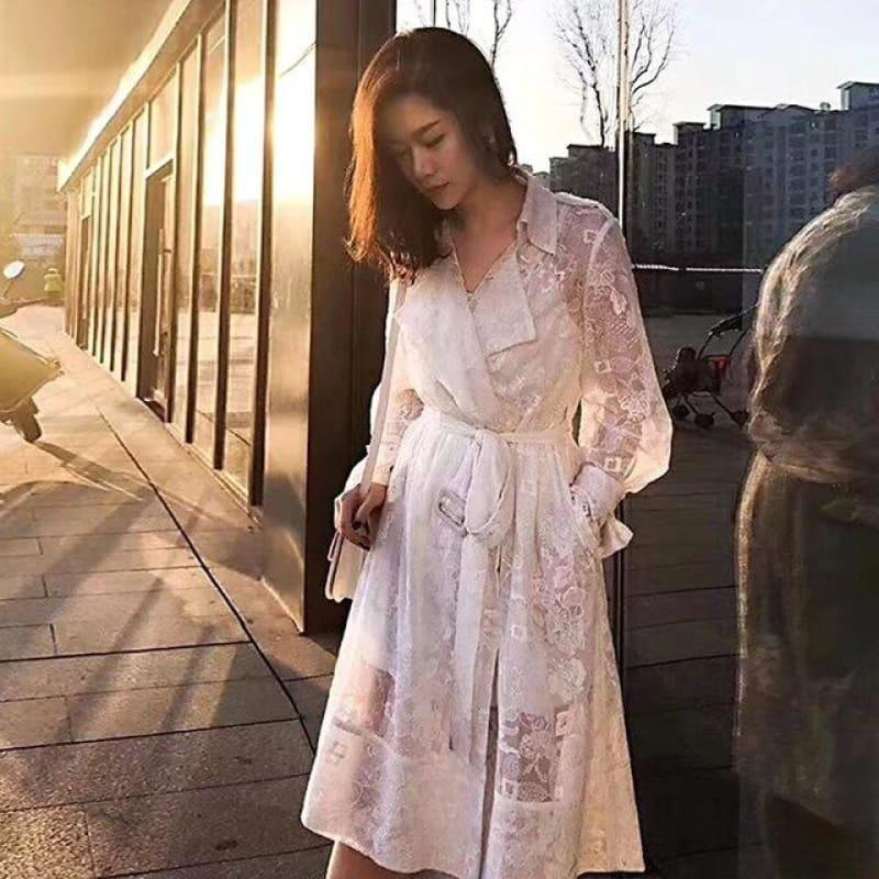 White Embroidery Lace High Waist Long Sleeve Dress - white / L - Knee Length