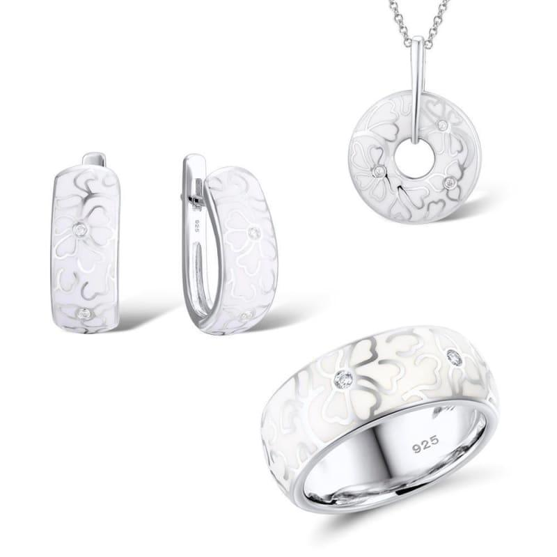 White Flower CZ Stones Ring Earrings Pendent Genuine 925 Sterling Silver Women Jewelry Set - 6 - jewely set