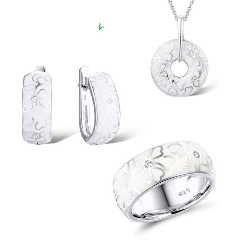 White Flower CZ Stones Ring Earrings Pendent Genuine 925 Sterling Silver Women Jewelry Set - jewely set