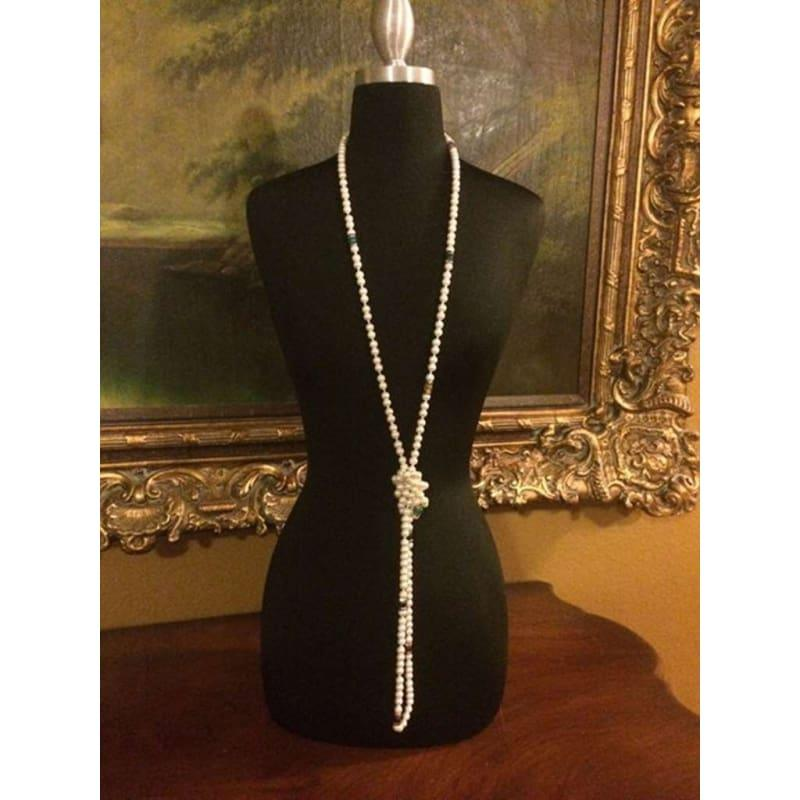 White Glass Pearl Rope Necklace - Handmade