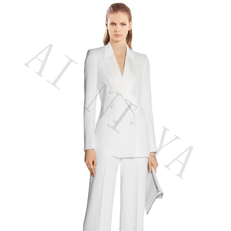 White Jacket+Pants Suits Double Breasted Business Suits - Womens suits