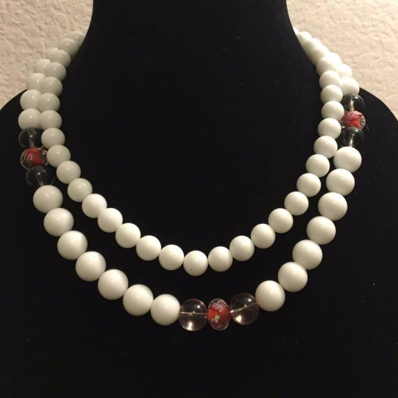 White Jade Double Strand With Lampwork Ascent Necklace. - Handmade