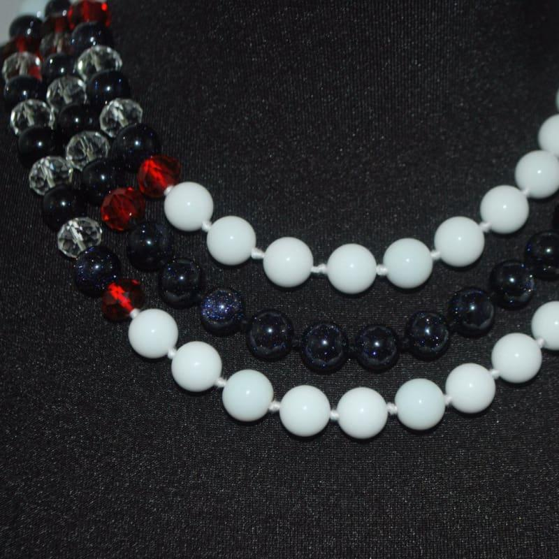 White Jade / Galaxy Blue Triple Strands Womens Necklace. - Handmade