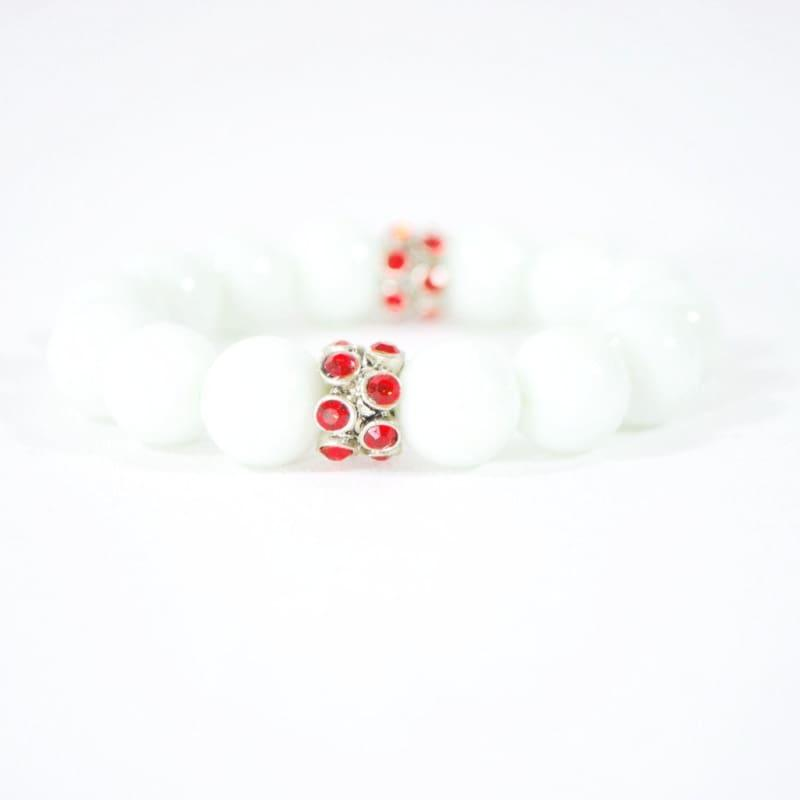 White Jade Gemstone With Red Rhinestone Stretch Bracelets - Handmade
