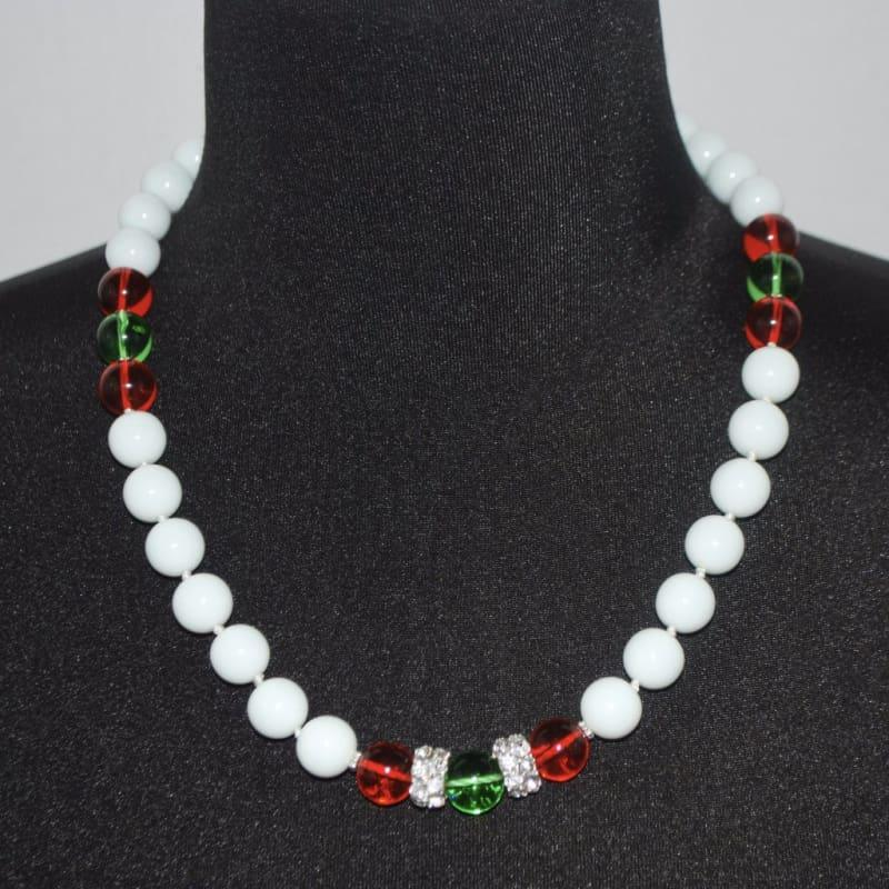 White Jade Stone Necklace. - 16inches / White - Handmade