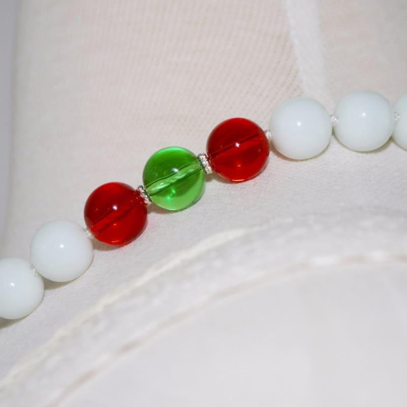 White Jade Stone Necklace. - Handmade