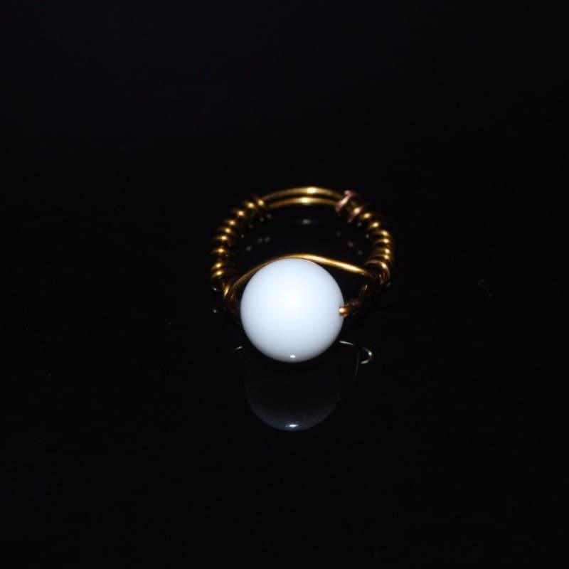 White Jade Stone Womens Ring - 6.5 / Bronze - Handmade