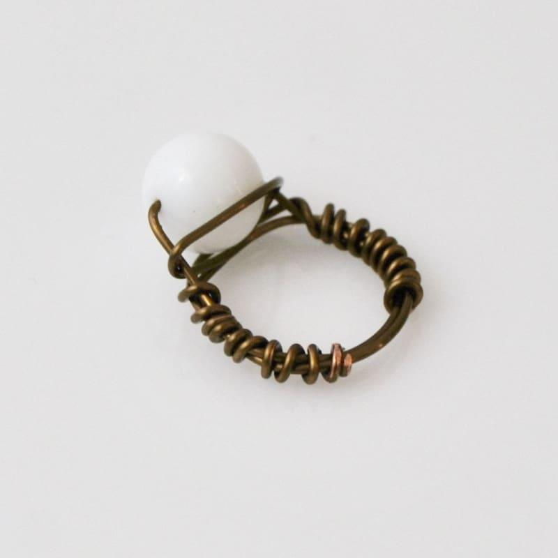 White Jade Stone Womens Ring - 6.5 / Rose gold - Handmade