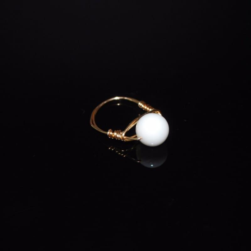 White Jade Stone Womens Ring - 7 / Rose gold - Handmade