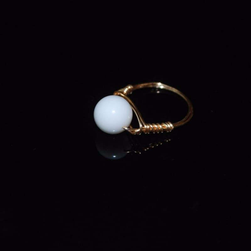 White Jade Stone Womens Ring - Handmade