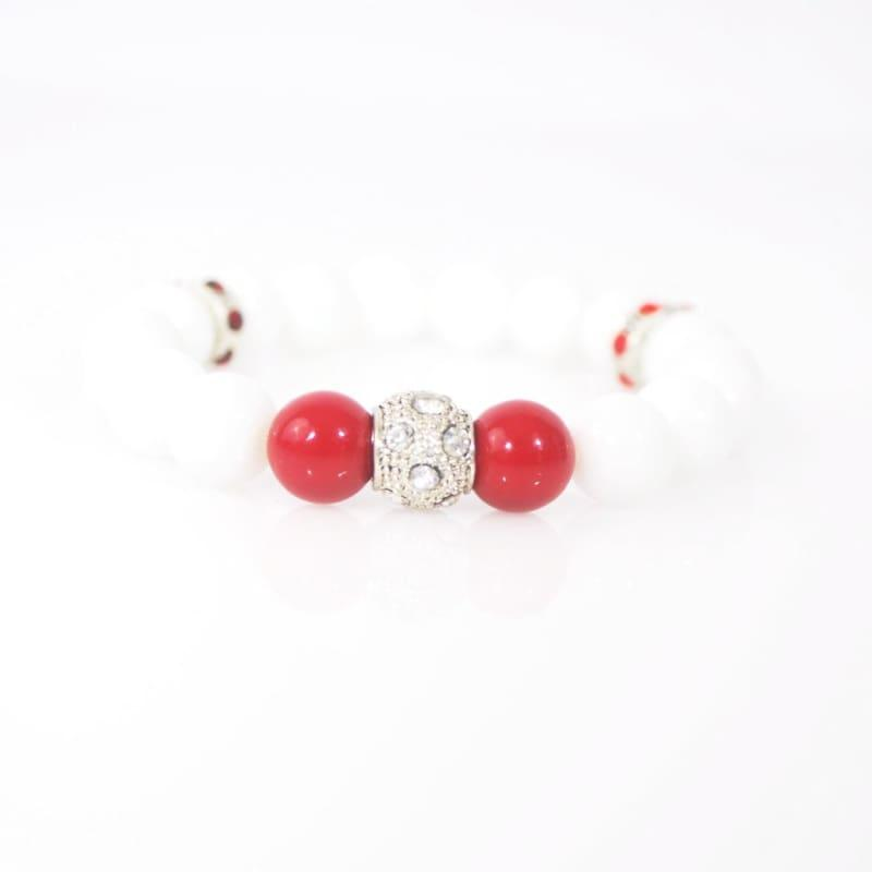 White Jade With Red Pearls Ascent Elegant Bracelets - Handmade