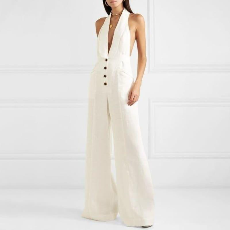 White Linen Sexy Halter Button High Waist Wide Leg Jumpsuit - White / L - Jumpsuit