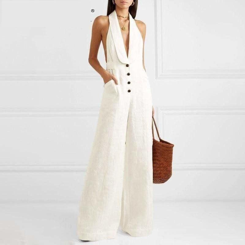 White Linen Sexy Halter Button High Waist Wide Leg Jumpsuit - Jumpsuit