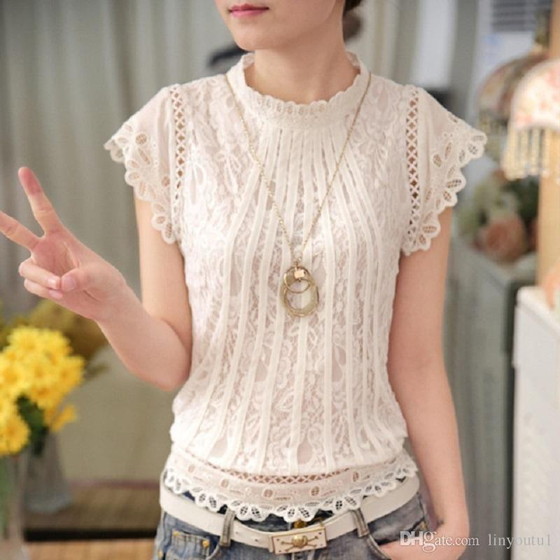 White Mesh Petal Lace Chiffon O-neck Sleeveless Top - Sleeveless