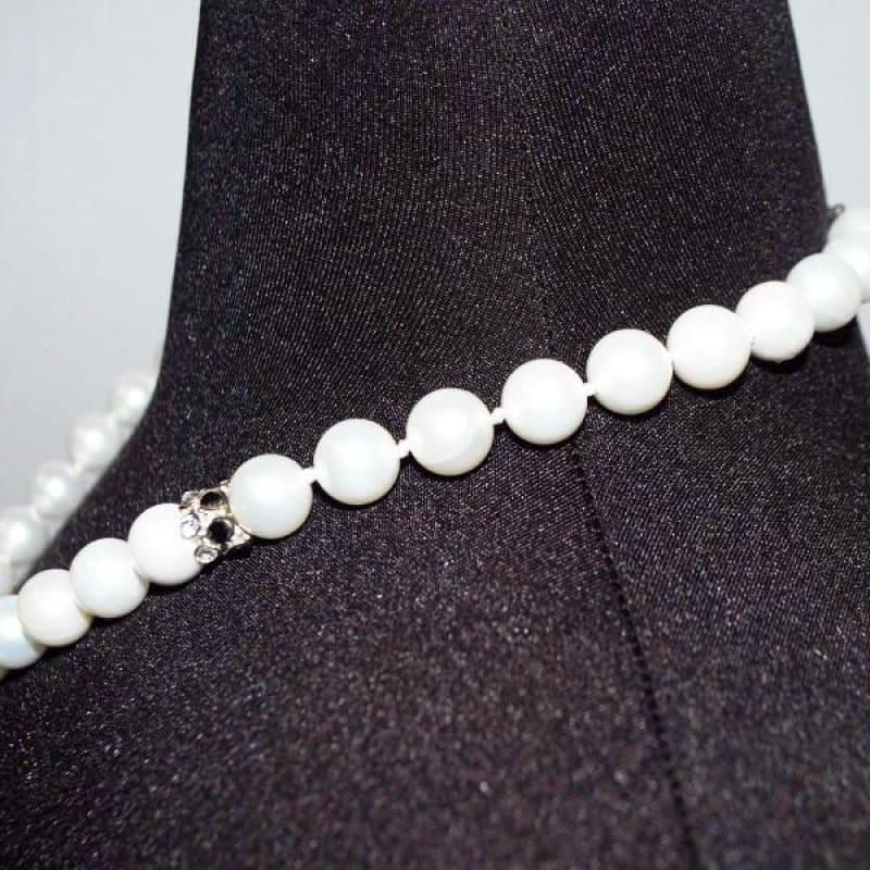 White Pearls With Black Rhinestone Womens Necklace - Handmade