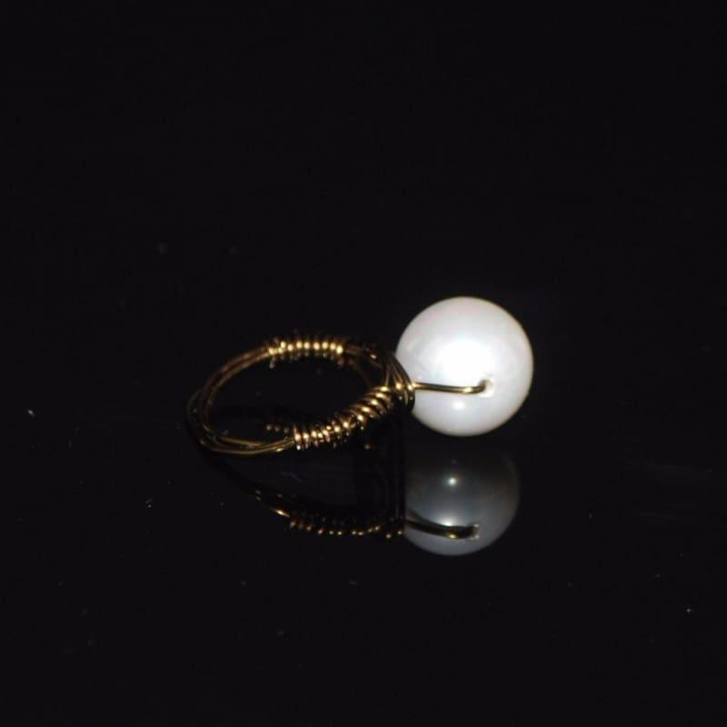 White Shell Bead Ring - Handmade