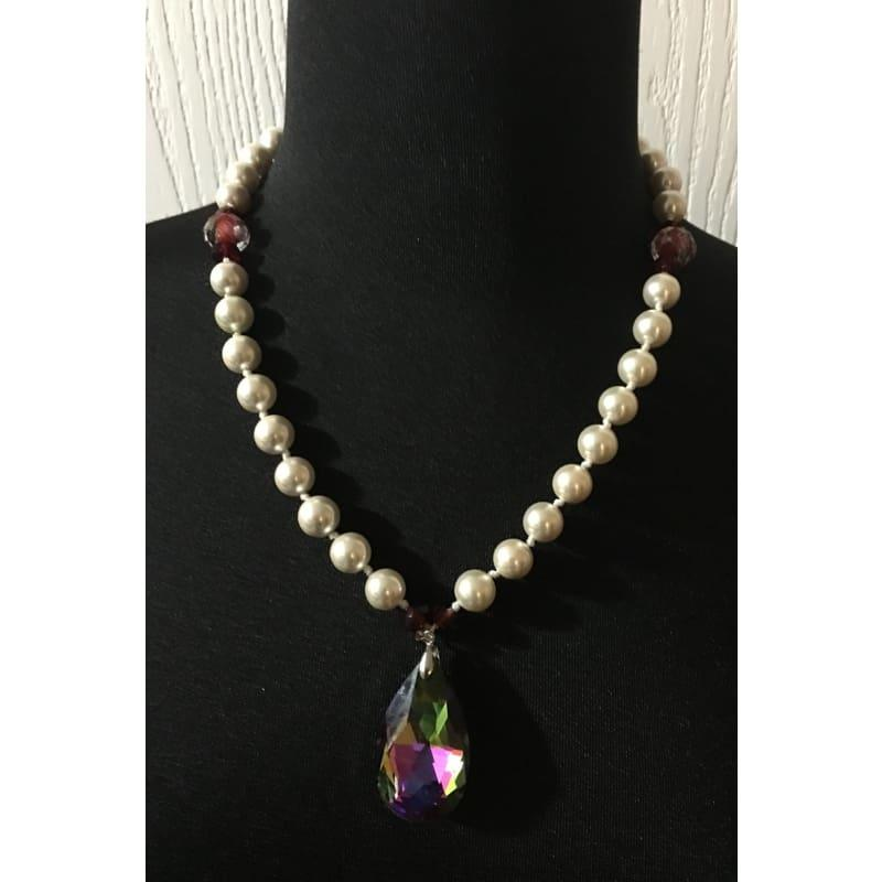 White Shell Pearls With Almond Pendant Necklace. - Handmade