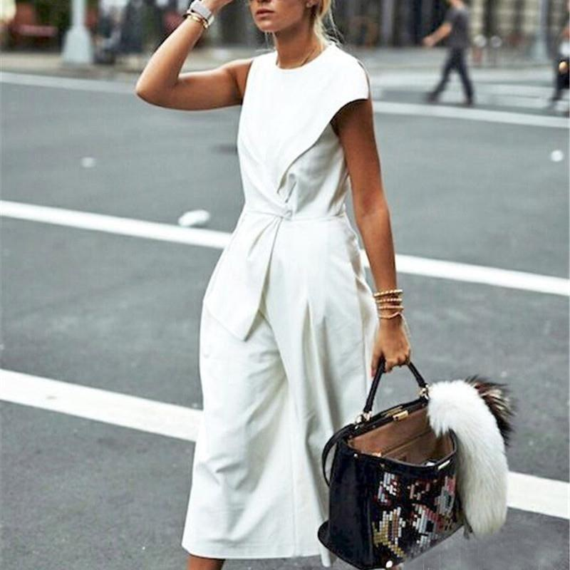 White Sleeveless Wide Leg High Waist Calf Length Jumpsuits - jumpsuit