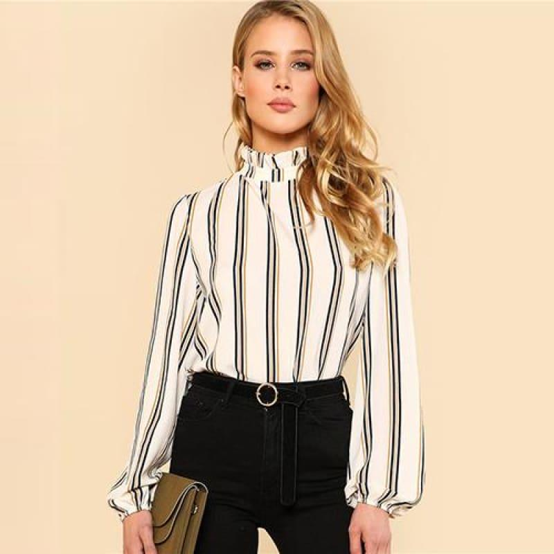 White Striped Stand Collar Elegant Office Ladies Workwear Blouse - White / L - Long Sleeve