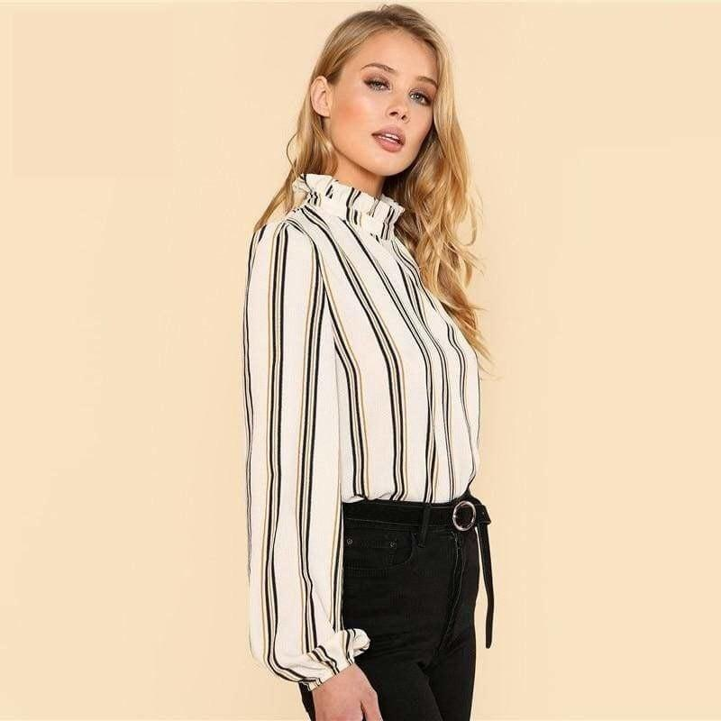 White Striped Stand Collar Elegant Office Ladies Workwear Blouse - Long Sleeve