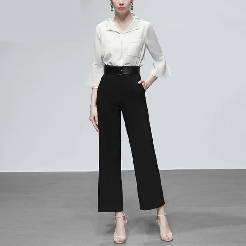 White Three Quarter Flare Sleeve Single-breasted Pockets Blouse And High Waist Loose Pants - Black / S - Sets