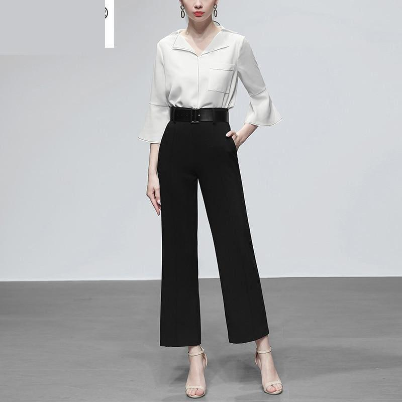 White Three Quarter Flare Sleeve Single-breasted Pockets Blouse And High Waist Loose Pants - Sets