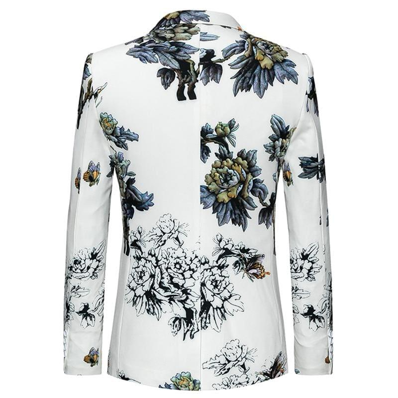White Winter Flower Pattern Floral Suit Jacket High Quality Blazer Jackets - Mens jackets