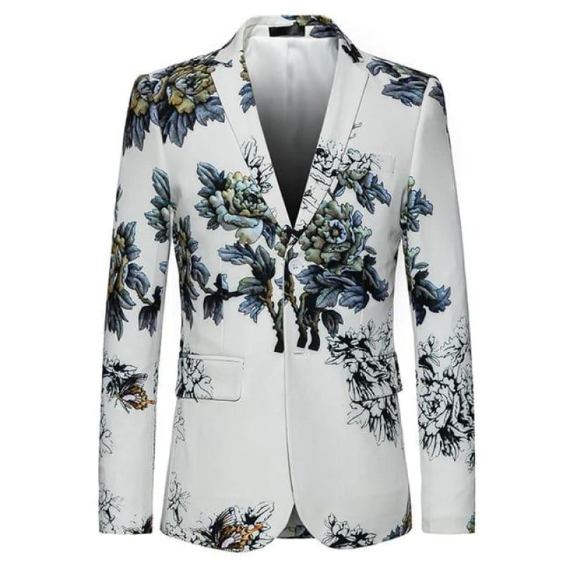 White Winter Flower Pattern Floral Suit Jacket High Quality Blazer Jackets - WHITE / XXXL - Mens jackets