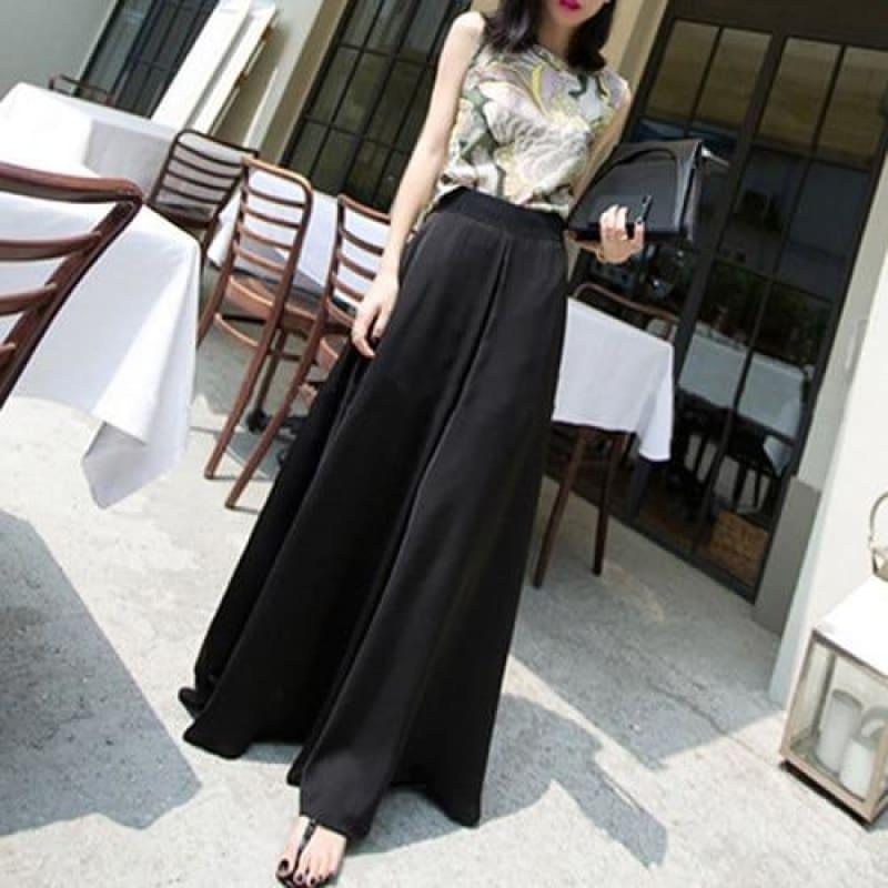 Wide Leg Chiffon Loose Elastic Waist Pants - Black / 4Xl - Pants