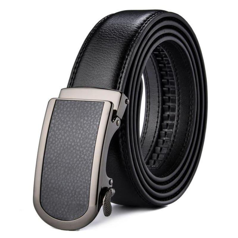 Wide Luxury Automatic Buckle Ratchet Dress Belt - Black / 110cm - belt