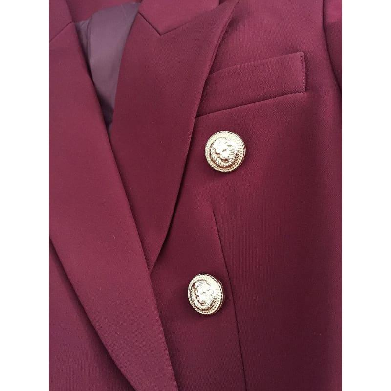 Wine Red Designer Womens Metal Lion Buttons Double Breasted Blazer Jacket - blazers