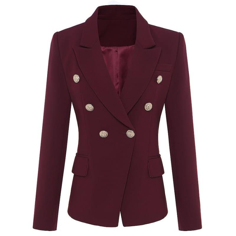 Wine Red Designer Womens Metal Lion Buttons Double Breasted Blazer Jacket - wine red / S - blazers