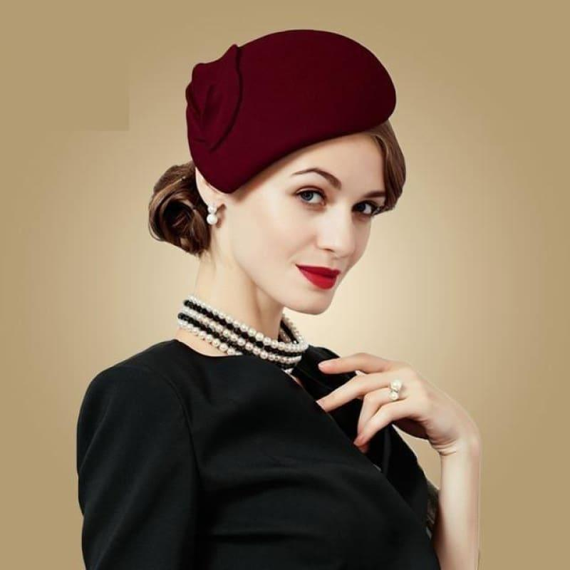 Wine Red Wool Felt Vintage Cocktail Fashion Pillbox Hat - Wine Red - hats