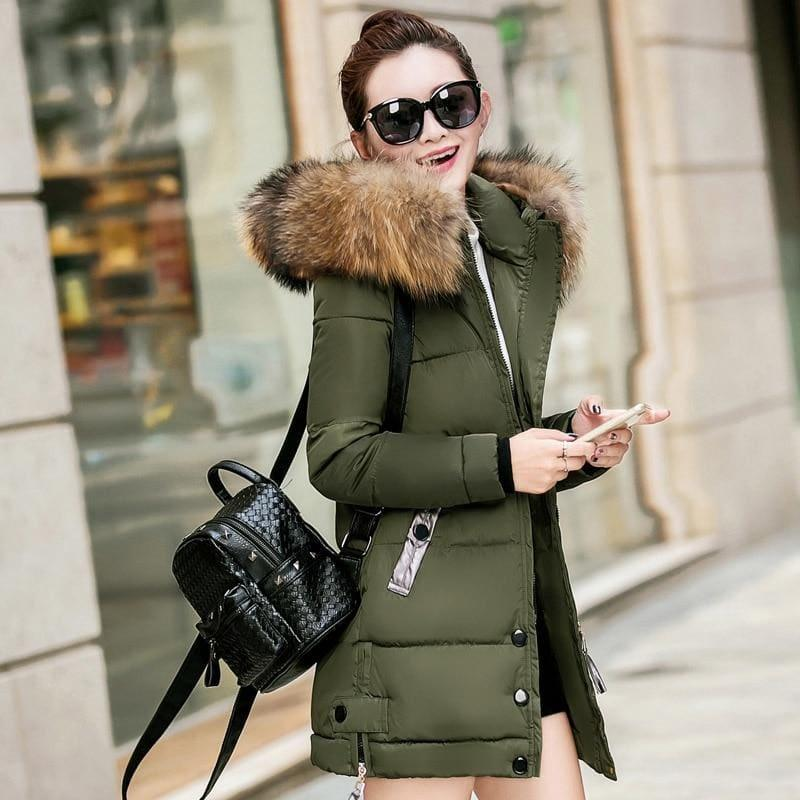 Winter Hooded Female Outerwear Parka Long Coat - Army Green / 4Xl - Coats