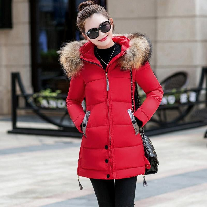 Winter Hooded Female Outerwear Parka Long Coat - Red / 4Xl - Coats