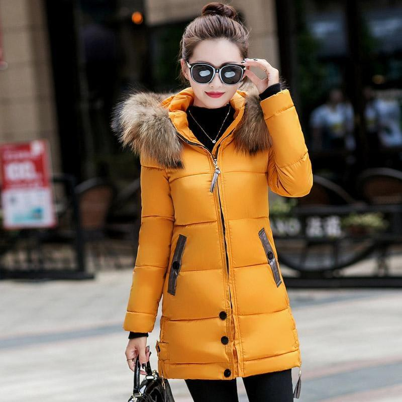 Winter Hooded Female Outerwear Parka Long Coat - Yellow / 4Xl - Coats