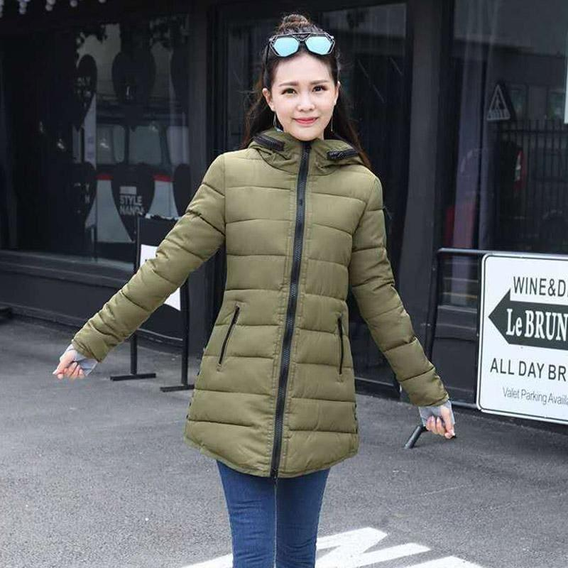Winter Hooded Warm Candy Color Cotton Paddedcoat - Army Green / L - Coats