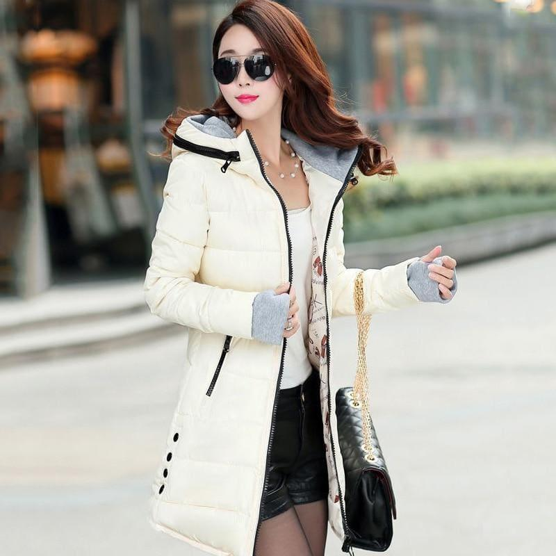 Winter Hooded Warm Candy Color Cotton Paddedcoat - Beige / L - Coats