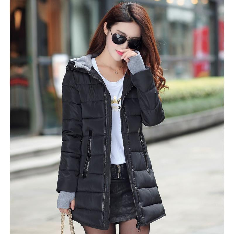 Winter Hooded Warm Candy Color Cotton Paddedcoat - Black / L - Coats