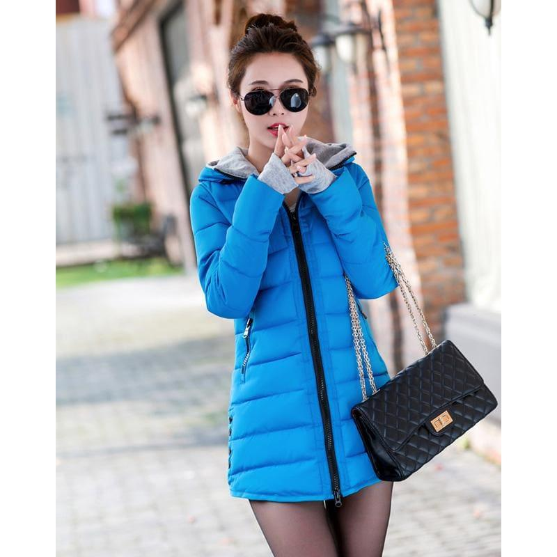 Winter Hooded Warm Candy Color Cotton Paddedcoat - Blue / L - Coats